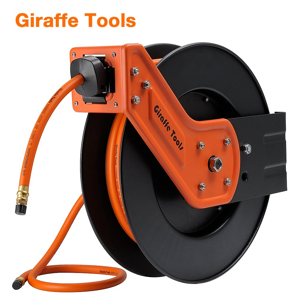 Giraffe Auto Retractable Air /Water Hose Reel with Free 3/8 In. x 50 Ft, 1/4 In. MNPT Hybrid Air Hose.Mountable, Swivel Bracket, 300 PSI and Heavy Duty by Giraffe Tools (Image #9)