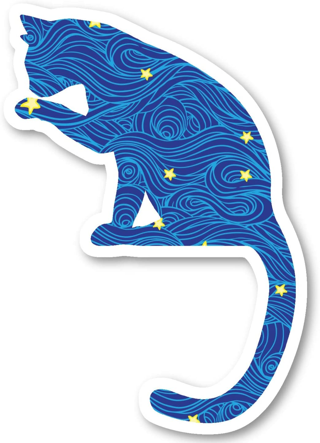 "Cat Sitting Sticker Blue Spirals and Stars Stickers - 2 Pack - Laptop Stickers - 2.5"" Vinyl Decal - Laptop, Phone, Tablet Vinyl Decal Sticker (2 Pack) S81905"
