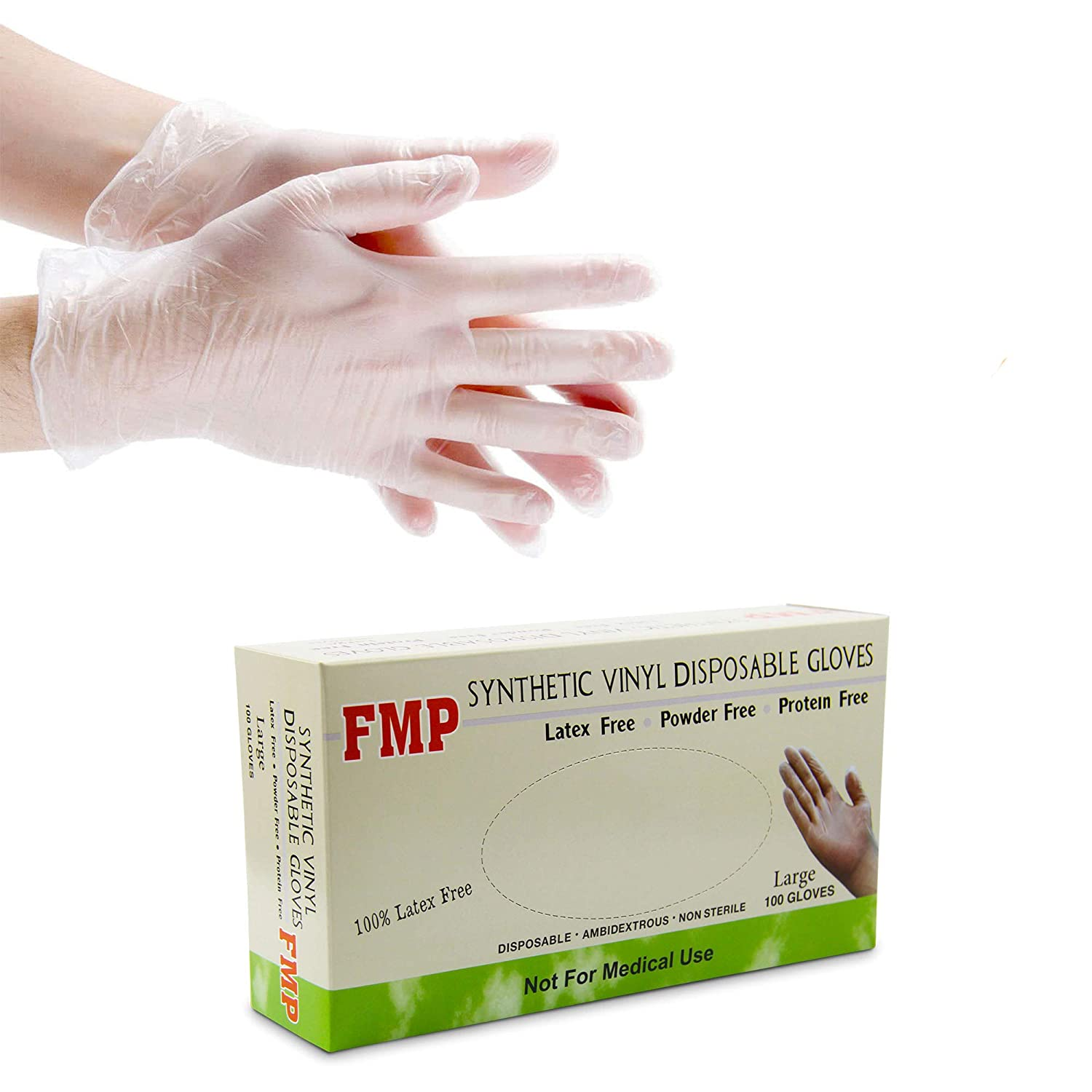 [100 Pack] Disposable Vinyl Gloves, Large Size, Non-Sterile, Powder Free, Smooth Touch, Food Service Grade 71VCOLKqqdL