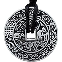 OhDeal4U Replica Chinese Ancient i-Ching Coin Good Fortune Lucky Charm Pewter Pendant