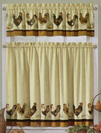 Rooster kitchen tier and valance set by interiors by design