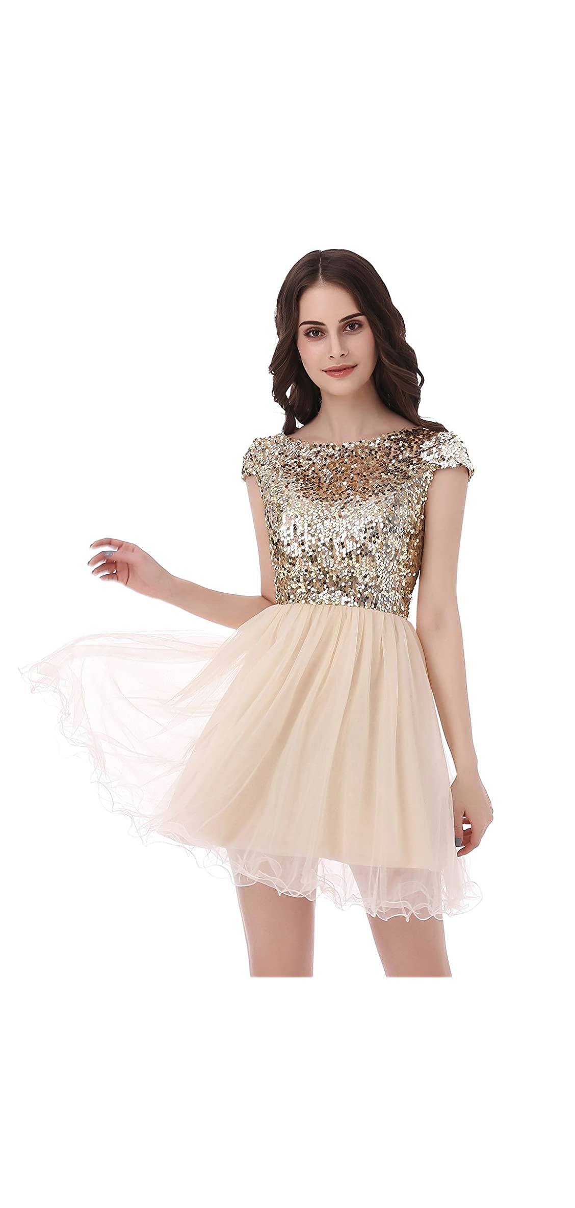 Womens Short Tullle Sequins Homecoming Dresses Mine
