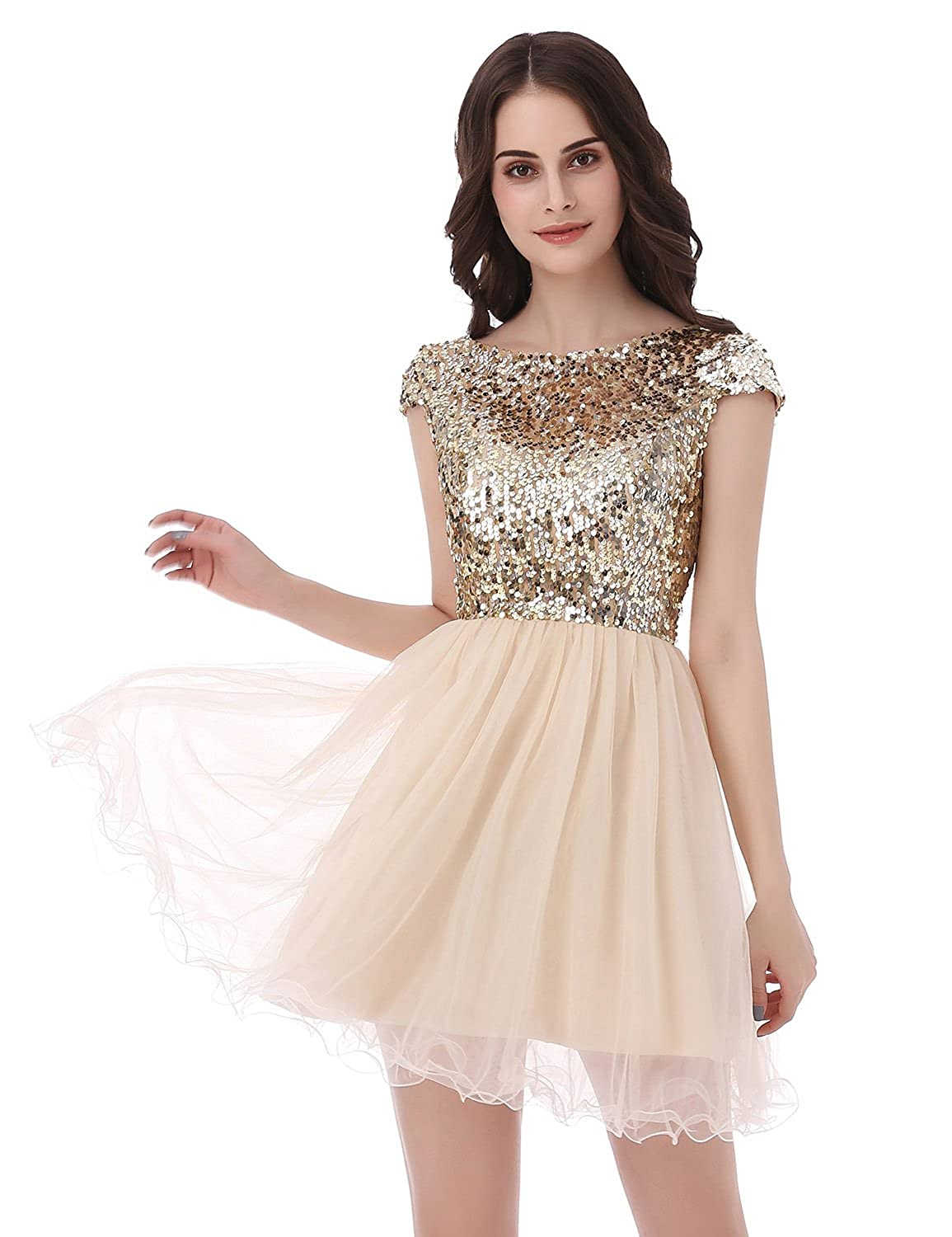 647bff1a0da29 Amazon.com: Belle House Junior's Short Tulle Homecoming Dresses with Sleeve Prom  Gowns: Clothing