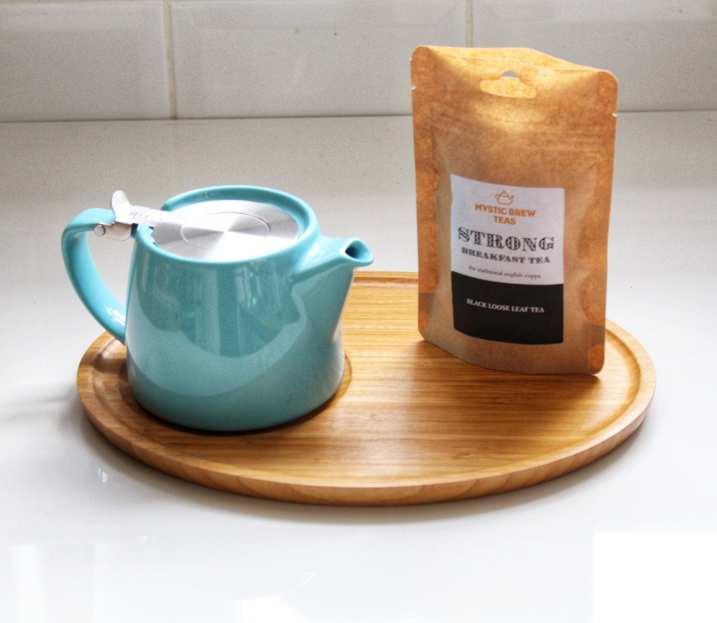 Turquoise 18oz ForLife Stump Teapot with Infuser for Loose Leaf Tea