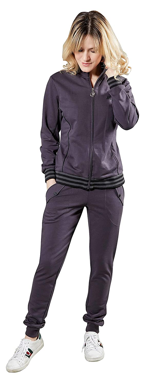 Articolo Scatolato NAZARENO GABRIELLI Completo Tuta Homewear Donna Giacca Manica Lunga Full Zip con Tasche Pantalone Lungo con Tasche E Balza al Fondo
