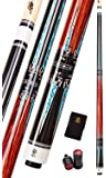 Collapsar CXT Pool Cue with Soft Case,Black with Cream Points and Turquoise,Wrapless Handle 58Inch Professional Pool…