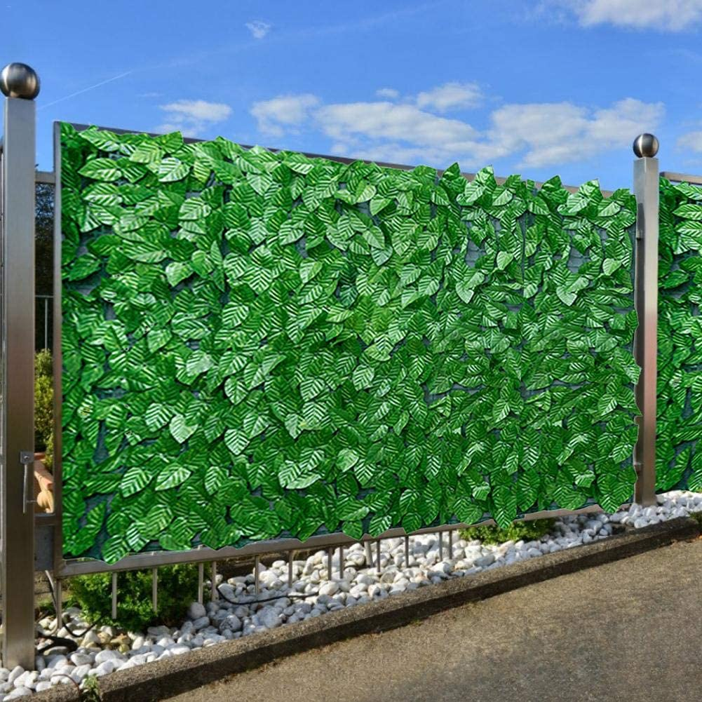 Artificial Ivy Privacy Fence Screen Fence Wall Garden Green Leaf Artificial Hedges Fence and Faux Ivy Vine Leaf Decoration for Outdoor Decor