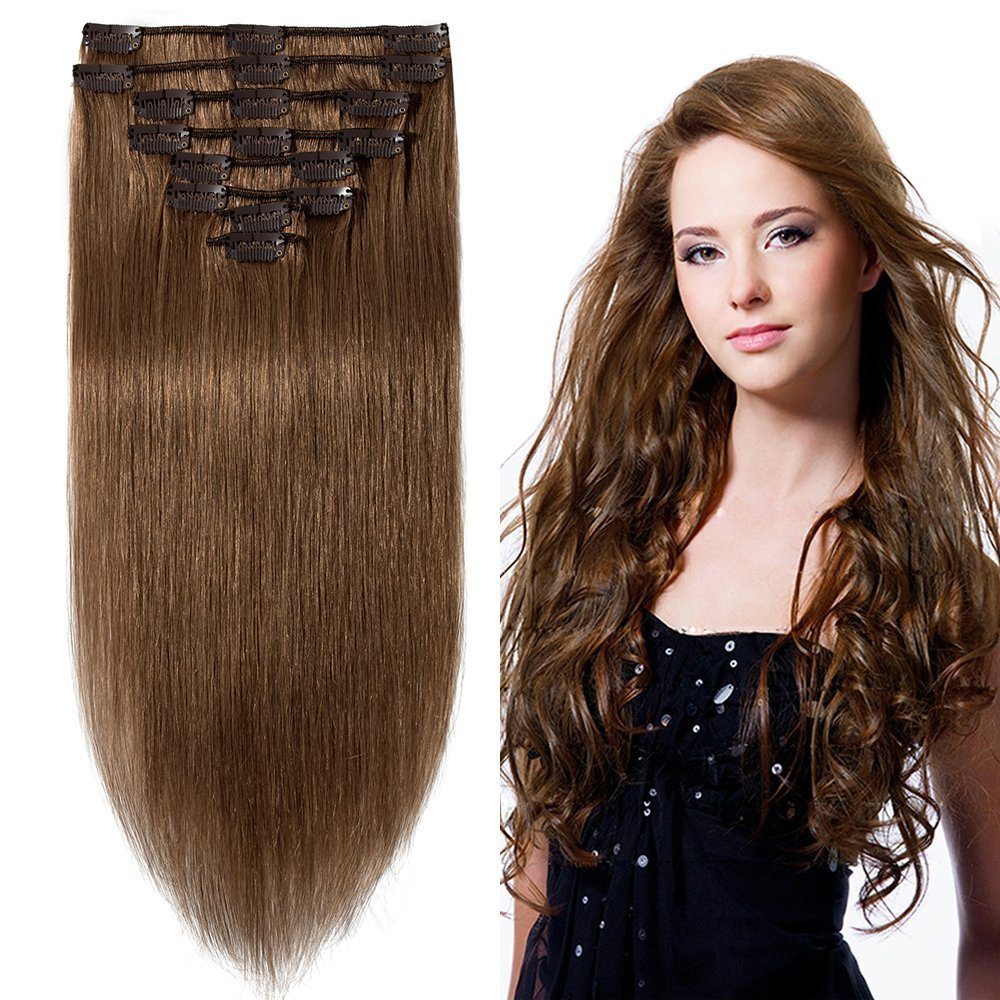 Amazon.com   20 inch 105g Clip in Remy Human Hair Extensions Full Head 8  Pieces Set Long length Straight Very Soft Style Real Silky for Beauty  6  Light ... 6dcb8c4ca22e