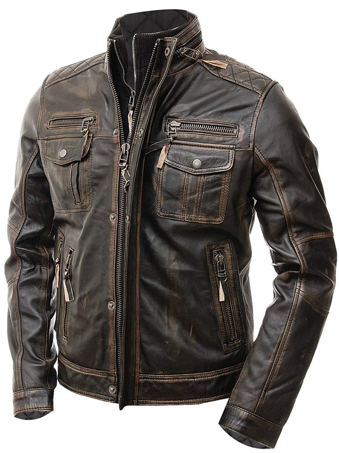Abbraci Boys Motorcycle Real Leather Biker Style Jacket for Kids (11-12 Years, Brown)