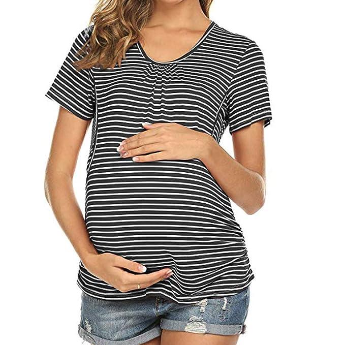 MRURIC❀ Umstandskleid Mamma Schwangere Krankenpflege Baby Mutterschafts gestreifte Blusen Kleidung,Tops Schwangerschaft Kleidung Bluse für
