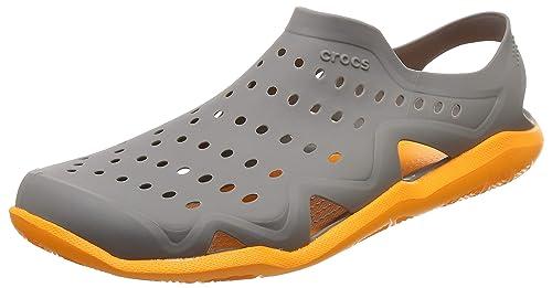 11621c803663 crocs Men s Swiftwater Wave M Grey and Orange Sandals-M10 (203963-0FR-