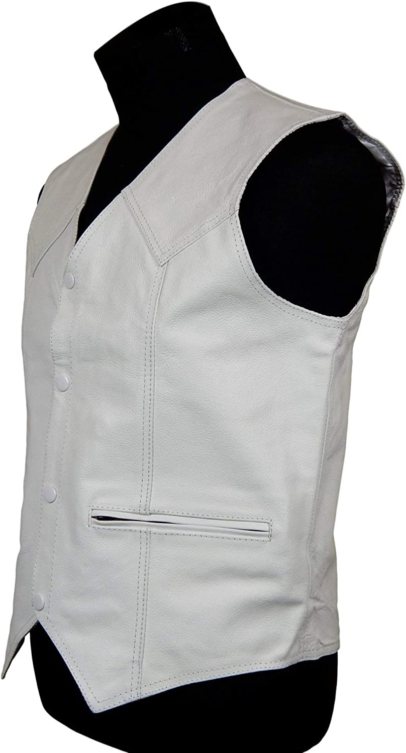 non Lace Sides Motorcycle Vest Black Leather S