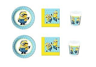Cdc -kit n°3 festa e party Cattivissimo Me Minions - (24 piatti, 24 bicchieri, 40 tovaglioli) Procos