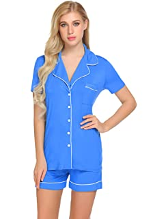 Sweetnight Womens Short Sleeve Pajamas Set Notch Collar Button Down Sleepwear Two Piece PJ Set