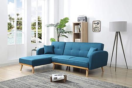 Bestmobilier Viking Hoekbank Omkeerbaar Scandinavische Stijl Stof Kleur Blauw Blauw Amazon Nl