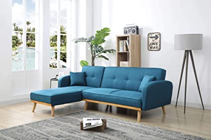Bestmobilier Viking Canapé D Angle Réversible Convertible Style Scandinave Tissu