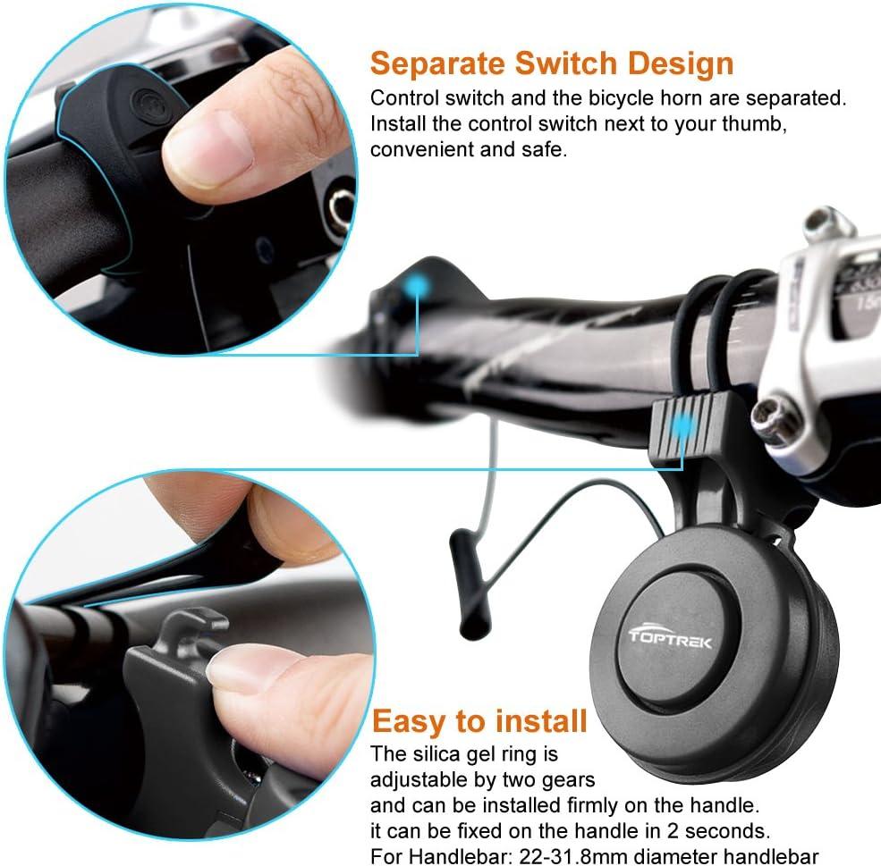 Timbre de bicicleta el/éctrico recargable USB 120 db Invisible Alarma de Ciclismo Cuerno Alto Impermeable 3 Modos Anillo de Alerta para Monta/ña Bicicleta de Carretera Scooters Manillar 22-31,8 mm
