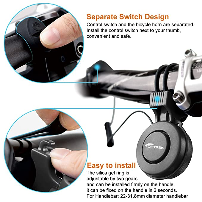 Amazon.com: toptrek Bell 120db de ciclismo eléctrico para ...