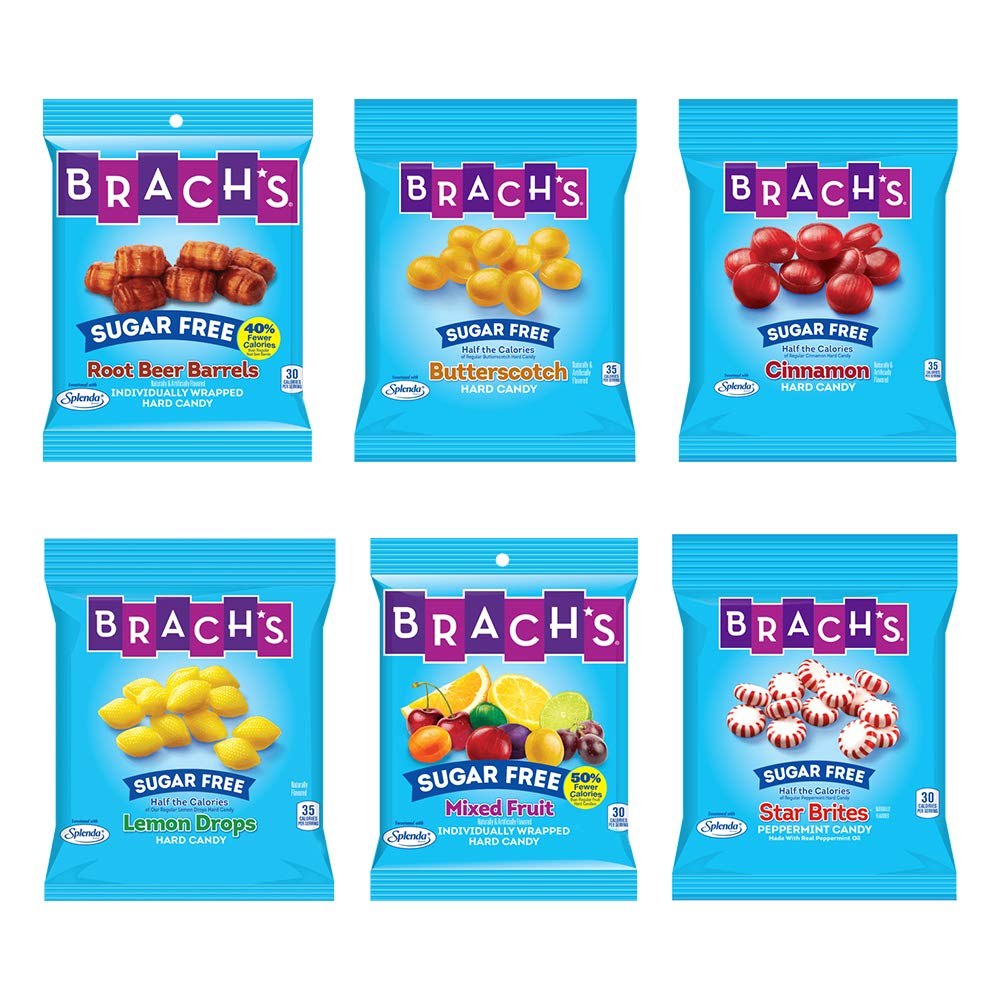 Brach's Sugar Free Candy, Hard Candy, 6 Pack Assortment, 21 oz Total, Butter Scotch, Cinnamon, Lemon Drops, Mixed Fruit, Peppermint, Root Beer