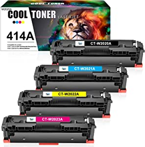 Cool Toner Compatible Toner Cartridge Replacement for HP 414A 414X W2020A W2021A W2022A W2023A HP Color Laserjet pro MFP M479fdw M454dw M454dn M479fdn Printer Ink (Black Cyan Magenta Yellow, 4-Pack)