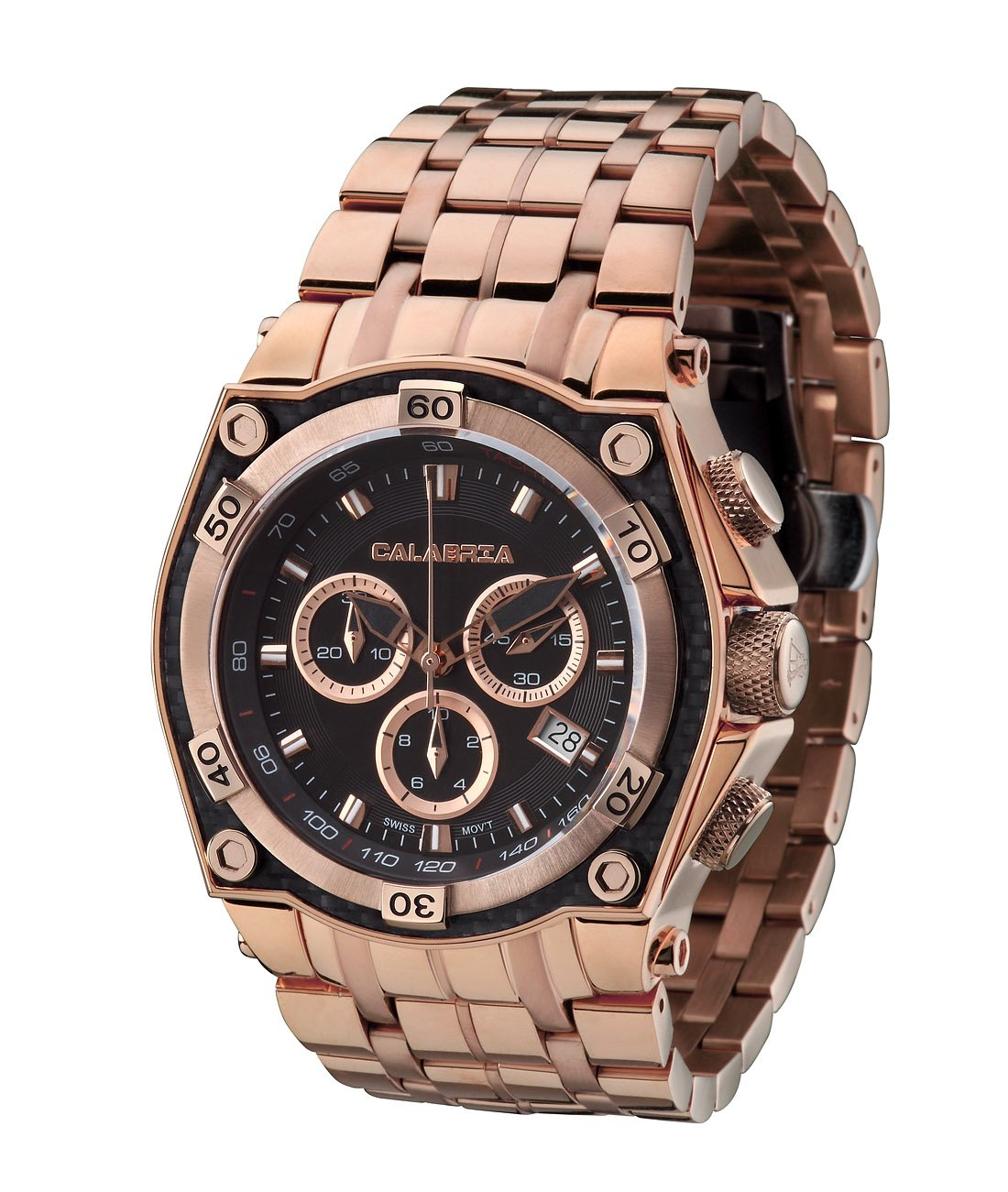CALABRIA - MEZZANOTTE - Classic Rose Gold Chronograph Men's Watch with Carbon Fiber Bezel by Calabria