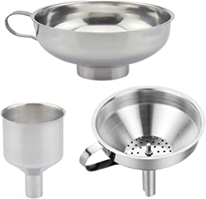 3 Pieces Funnel Durable Stainless Steel Kitchen Funnels with Strainer-Ideal for Transferring of Spices Liquid Powder Bean jam Canning Dishwasher Safe Funnels Set