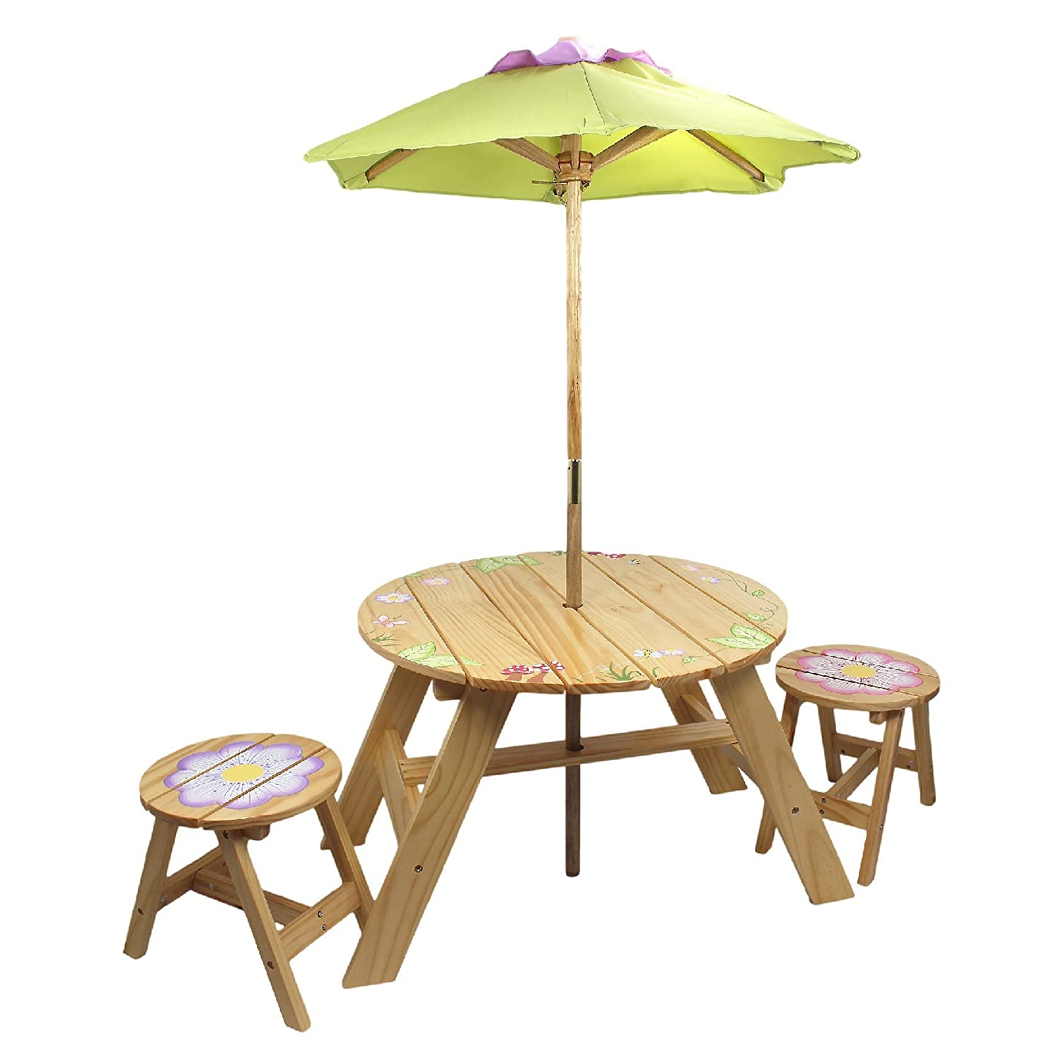 Fantasy Fields Kids Wooden Outdoor Table and Chair Set with Parasol Umbrella - Magic Garden Teamson TD-0029A