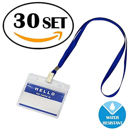 30 Packs Id Card Pass Badge Holder With Lanyard by Gimars,Waterproof Name Tags Strap, Transparent Work Employee Or Student Name Badge Holder - Horizontal Business Card Case - Office Supplies