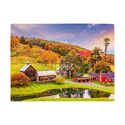 INTERESTPRINT Vermont, USA Early Autumn Rural Scene Jigsaw Puzzle Interesting Game Brain Iq Developing Art Project for Home Wall Decor A3 Size 252 Pieces: Toys & Games
