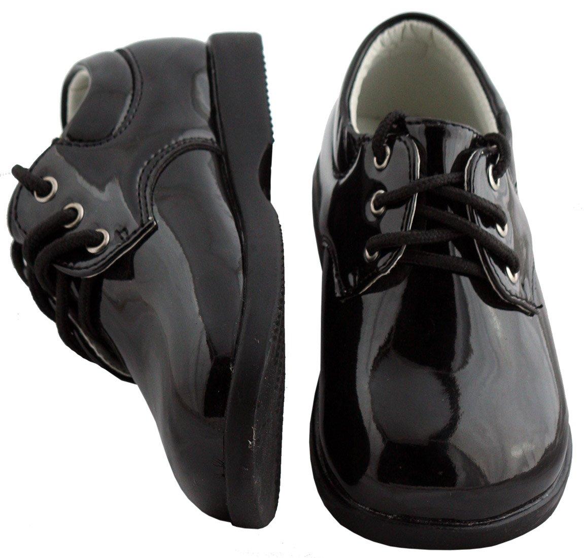 Boys Infant Toddler Black Round Toe Tuxedo Shoe by Fouger