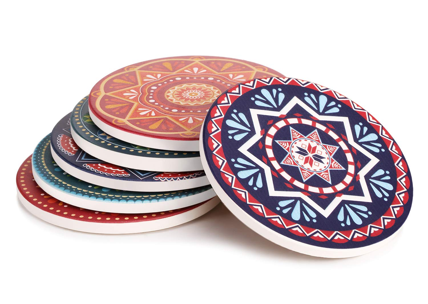 LIFVER Drink Coasters, Mandala Style Absorbent Coaster Sets, Avoid Furniture Being Scratched and Soiled, Suitable for Kinds of Cups, 4 Inches, Set of 6 by LIFVER