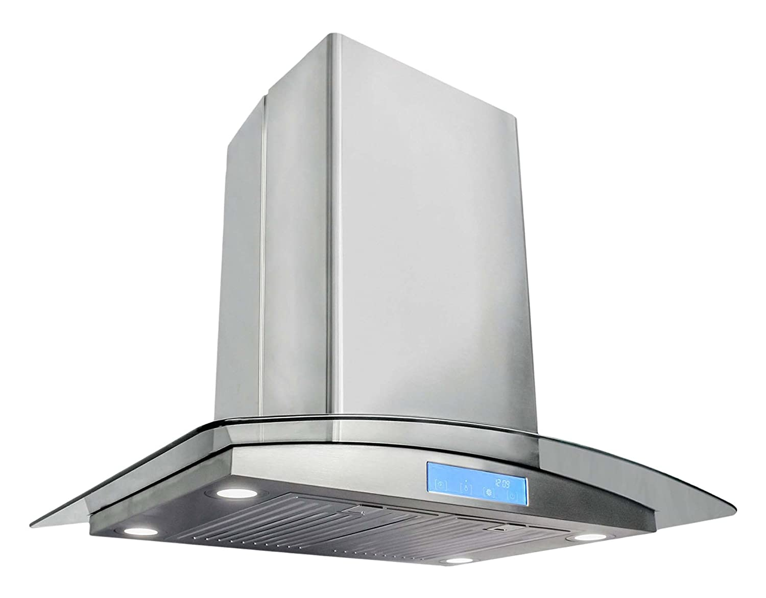 Cosmo 668ICS750 30 in. Island Mount Range Hood with Tempered Glass Visor, Soft Touch Controls, LED Lighting and Permanent Filters
