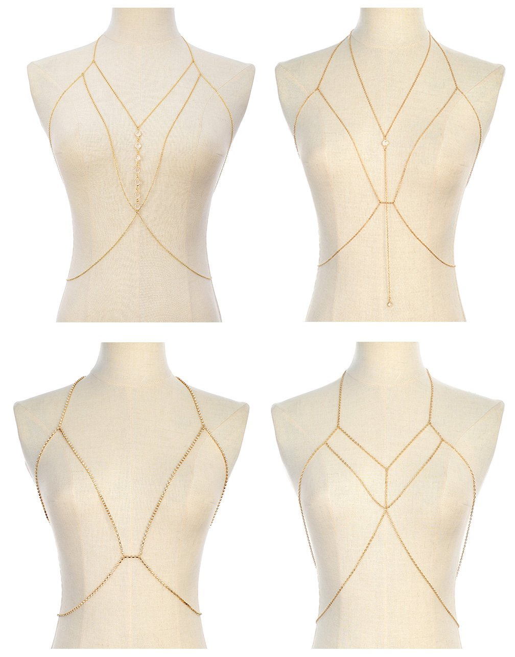 Tornito 4Pcs Bra Chain Sexy Belly Waist Chain Pendent Necklace Summer Beach Bikini Body Chain Jewelry for Women Girls Gold Tone