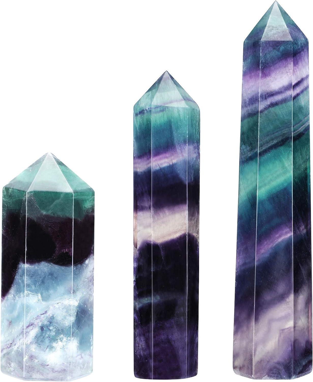 Natural Fluorite Quartz Crystal Stone Hexagonal Point Healing Amethyst Wand US