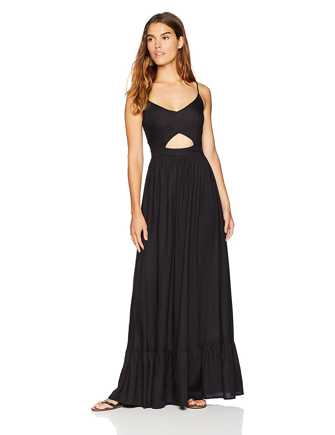 26311b4d30 Amazon.com  Wild Oasis Beachwear Women s V Neck Spaghetti Strap Cut Out  Solid Maxi Dress  Clothing