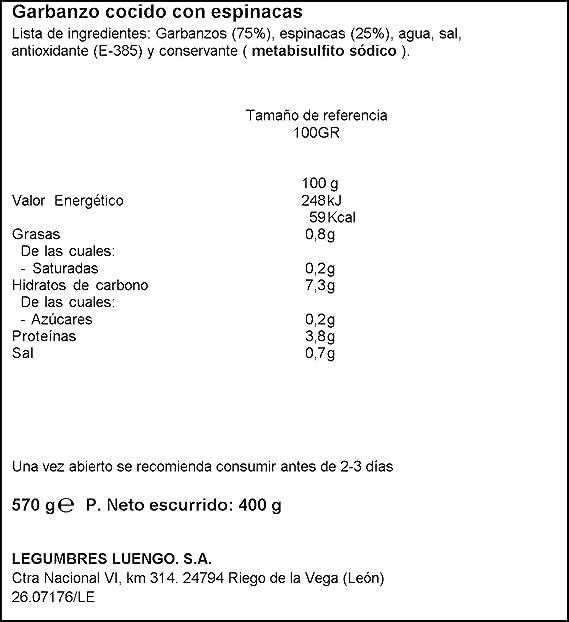 Luengo - Garbanzo Cocido En Frasco De 570 g Con Espinacas ...
