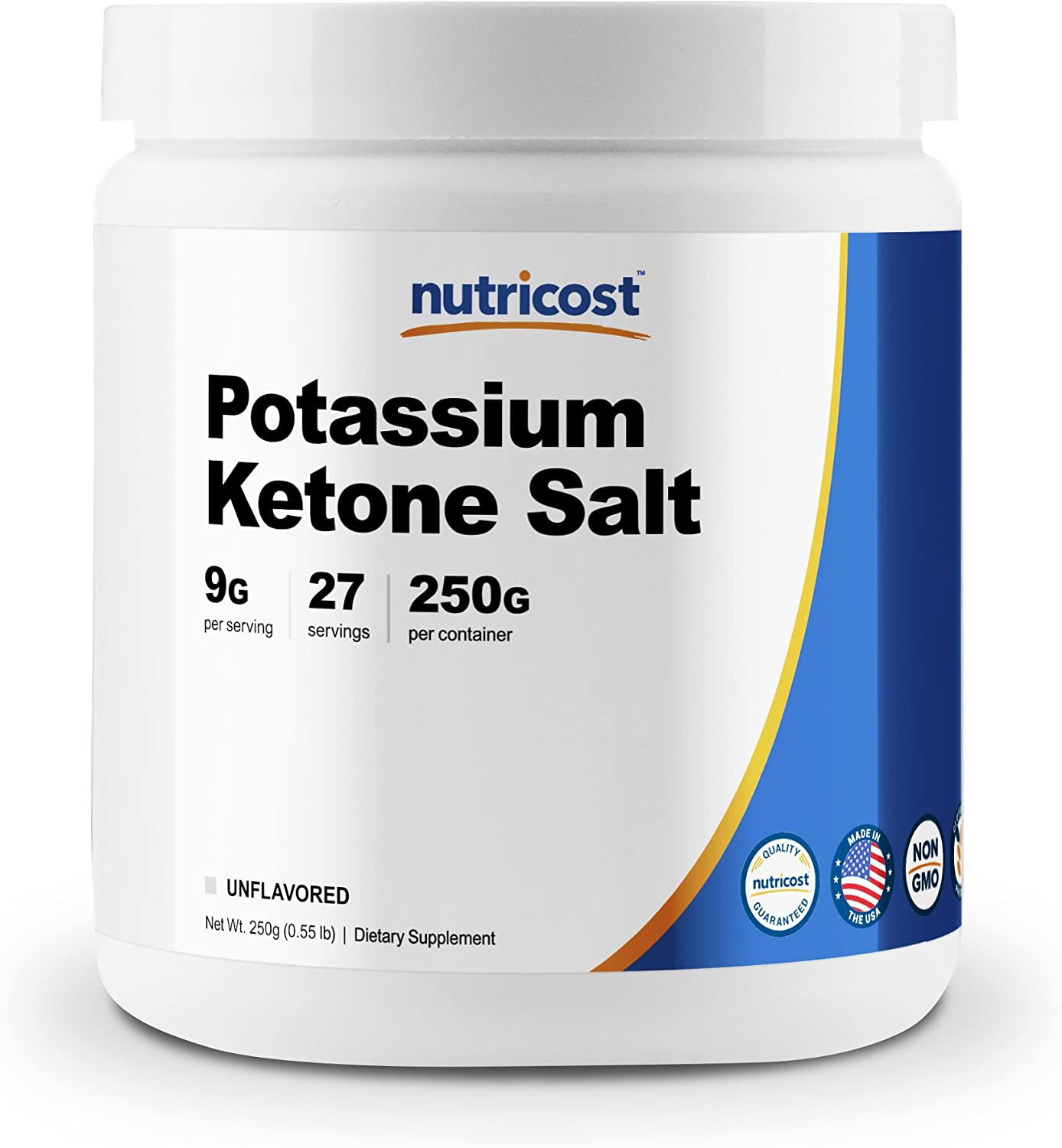 Nutricost Potassium BHB Salts, Exogenous Ketone Supplement, 6.4g Beta-Hydroxybutyrate Per Serving, 250 Grams