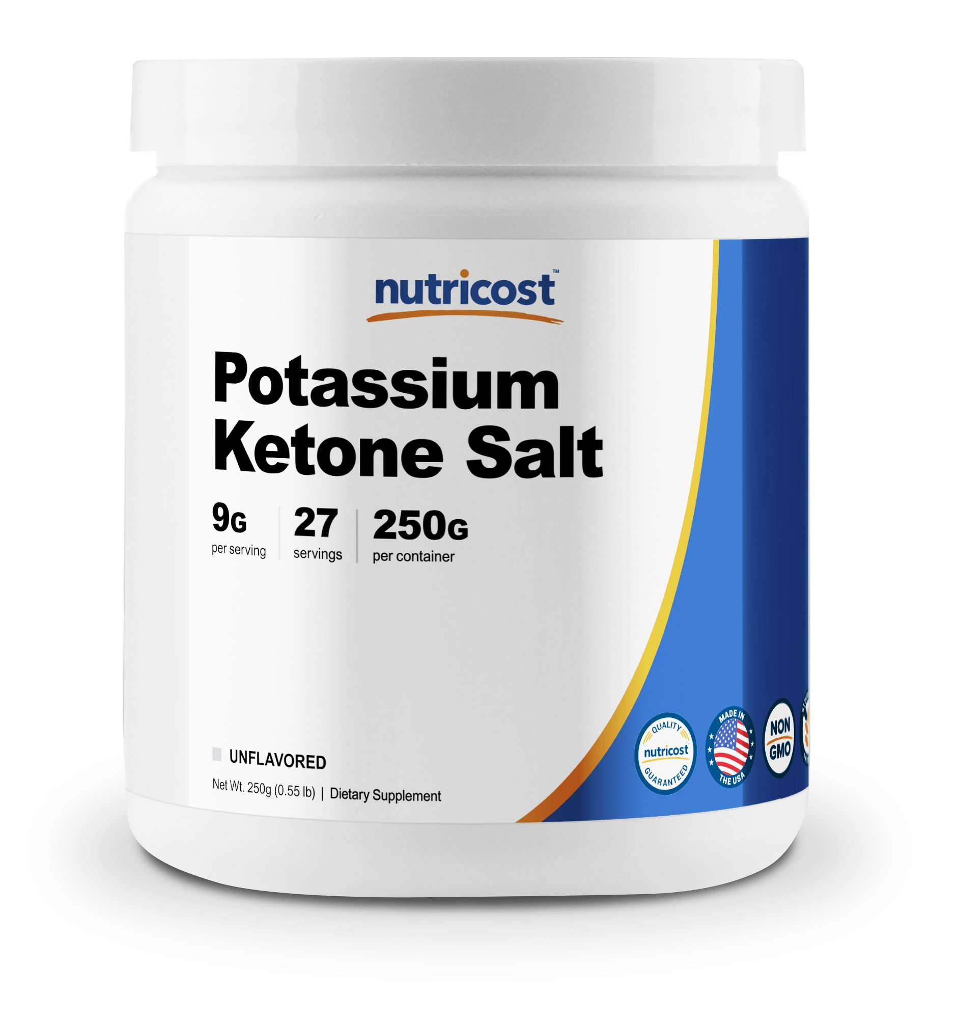 Nutricost Potassium BHB Salts, Exogenous Ketone Supplement, 6.4g Beta-Hydroxybutyrate Per Serving, 250 Grams by Nutricost