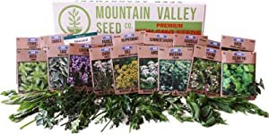 Culinary Herb Seeds Garden Collection | Premium Assortment | 18 Non-GMO Seed Packets: Savory, Peppermint, Anise, Fennel, Cilantro, Sage, Rosemary, Thyme, Arugula, More