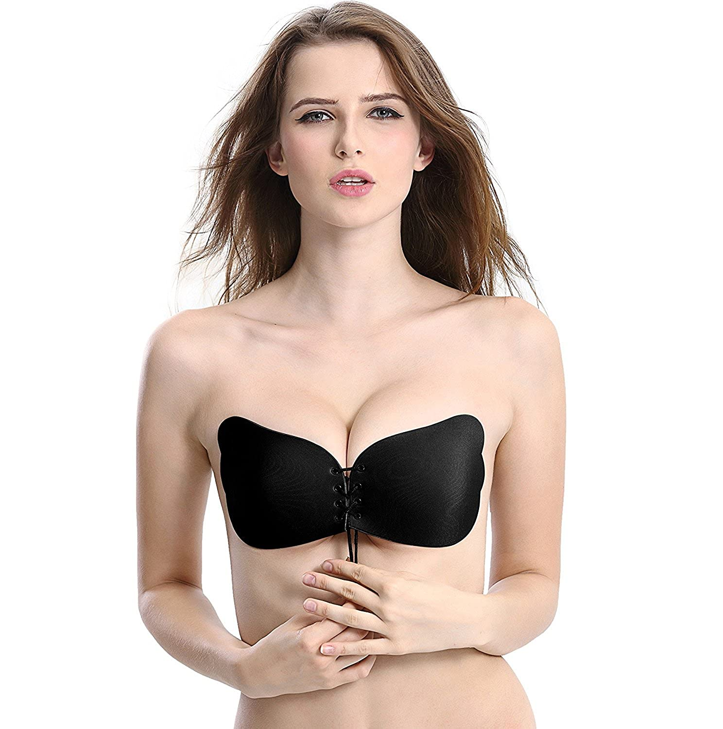 c560a199d114f Cocobla Plus Size 3D Magic Drawstring Silicone Gel Invisible Bra Push-Up  Strapless  Amazon.ca  Clothing   Accessories