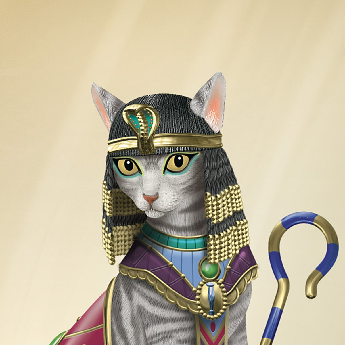 Cleo-CAT-Tra Cat Figurine Dressed Like Cleopatra With Elaborate Headdress by The Hamilton Collection
