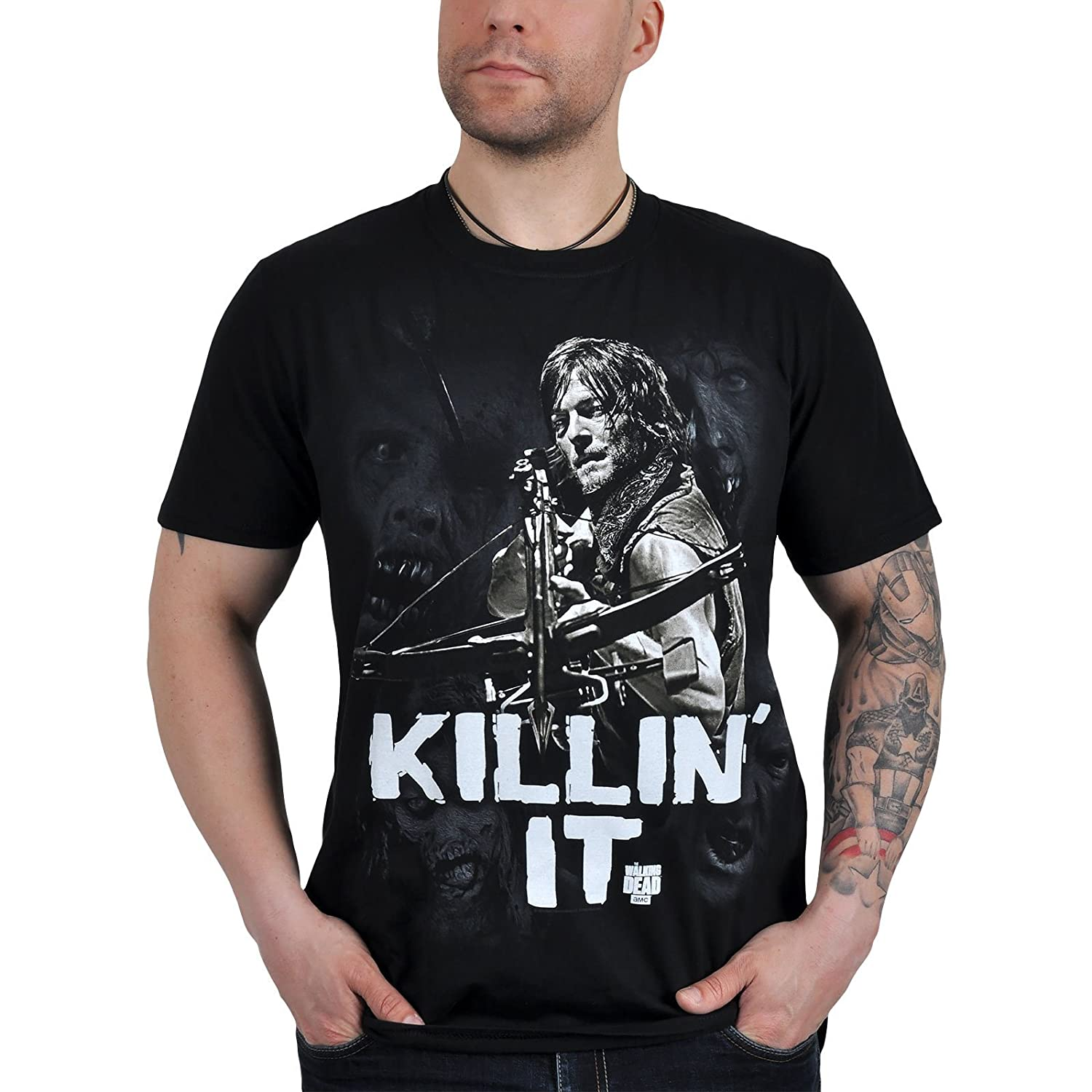 bd0cf8b8f The Walking Dead Official T Shirt Daryl KILLIN IT Zombies Black:  Amazon.co.uk: Clothing