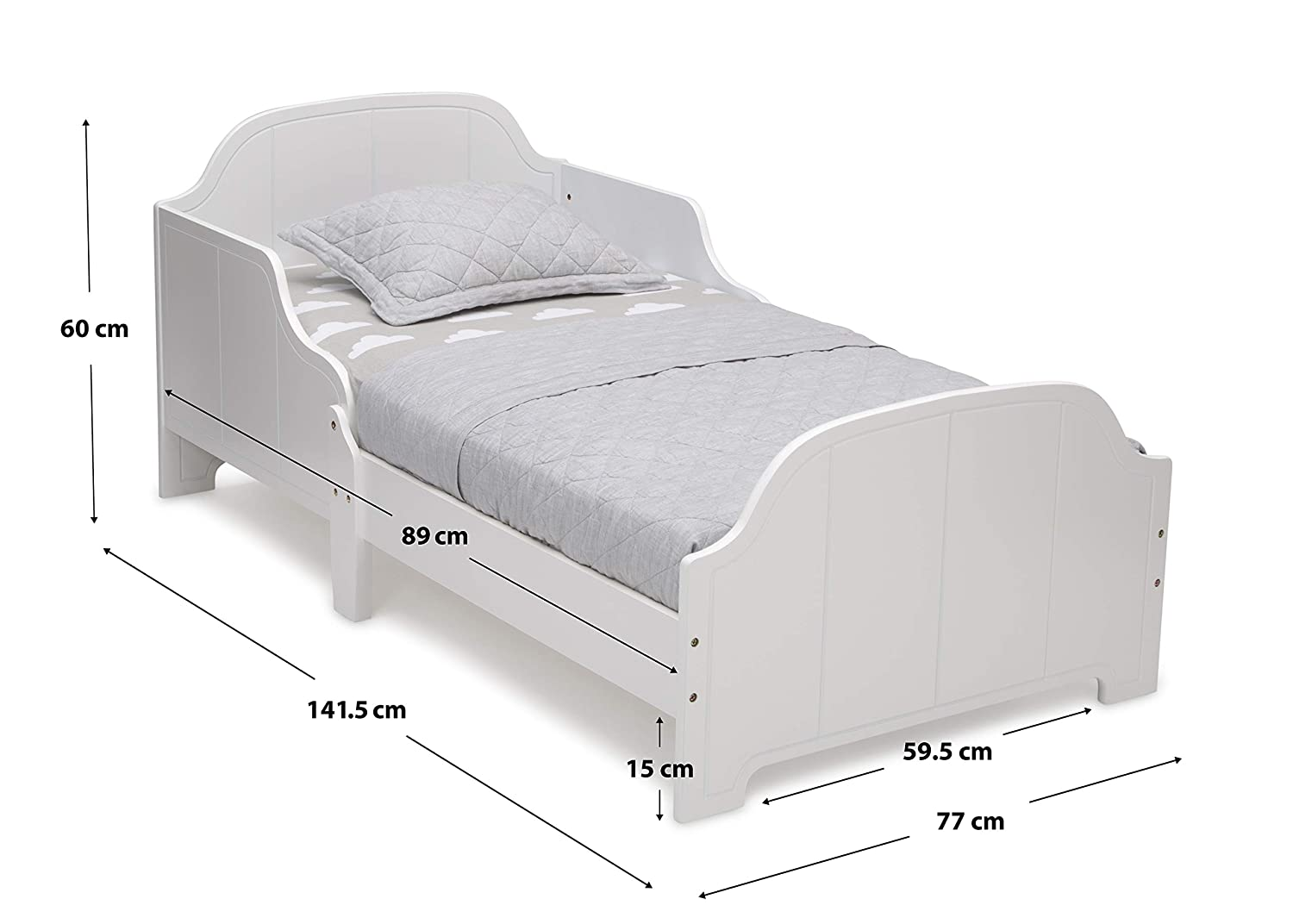 Delta Children Wooden Toddler Bed With Bedguard White