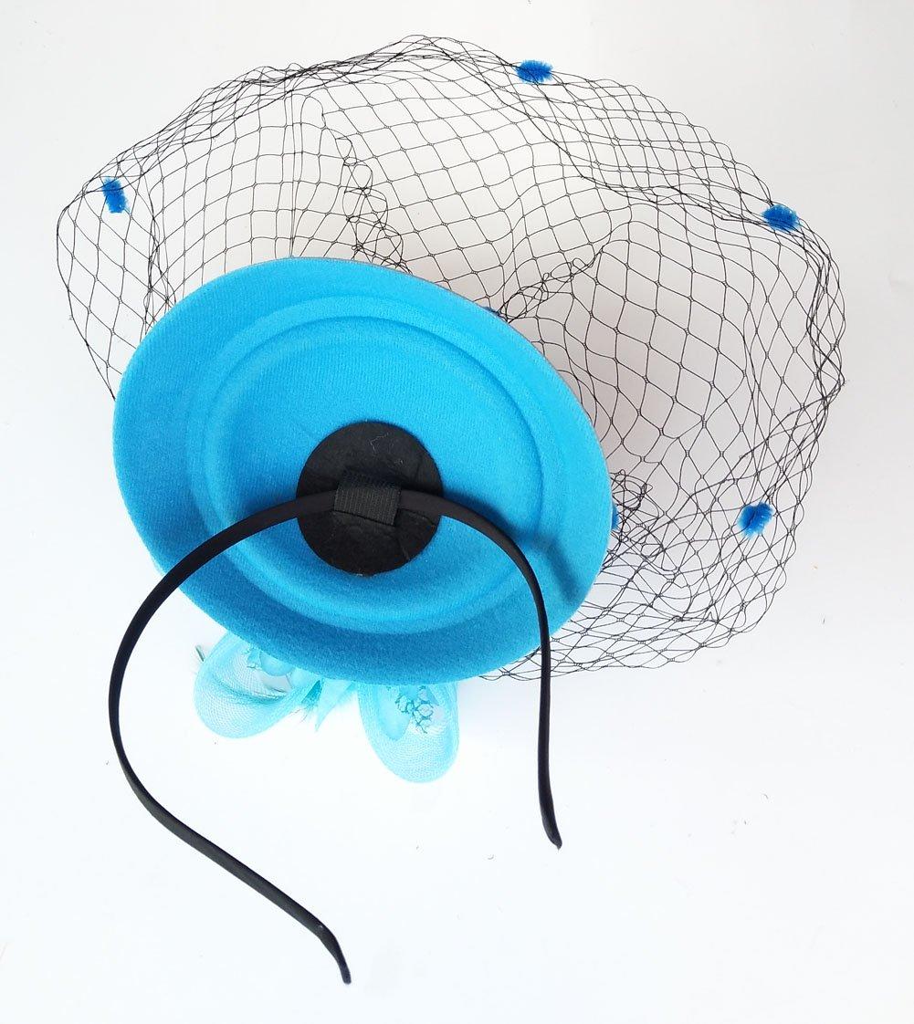 03ac492b759 Coolwife Fascinator Hats Pillbox Hat British Bowler Hat Flower Veil Wedding  Hat Tea Party Hat