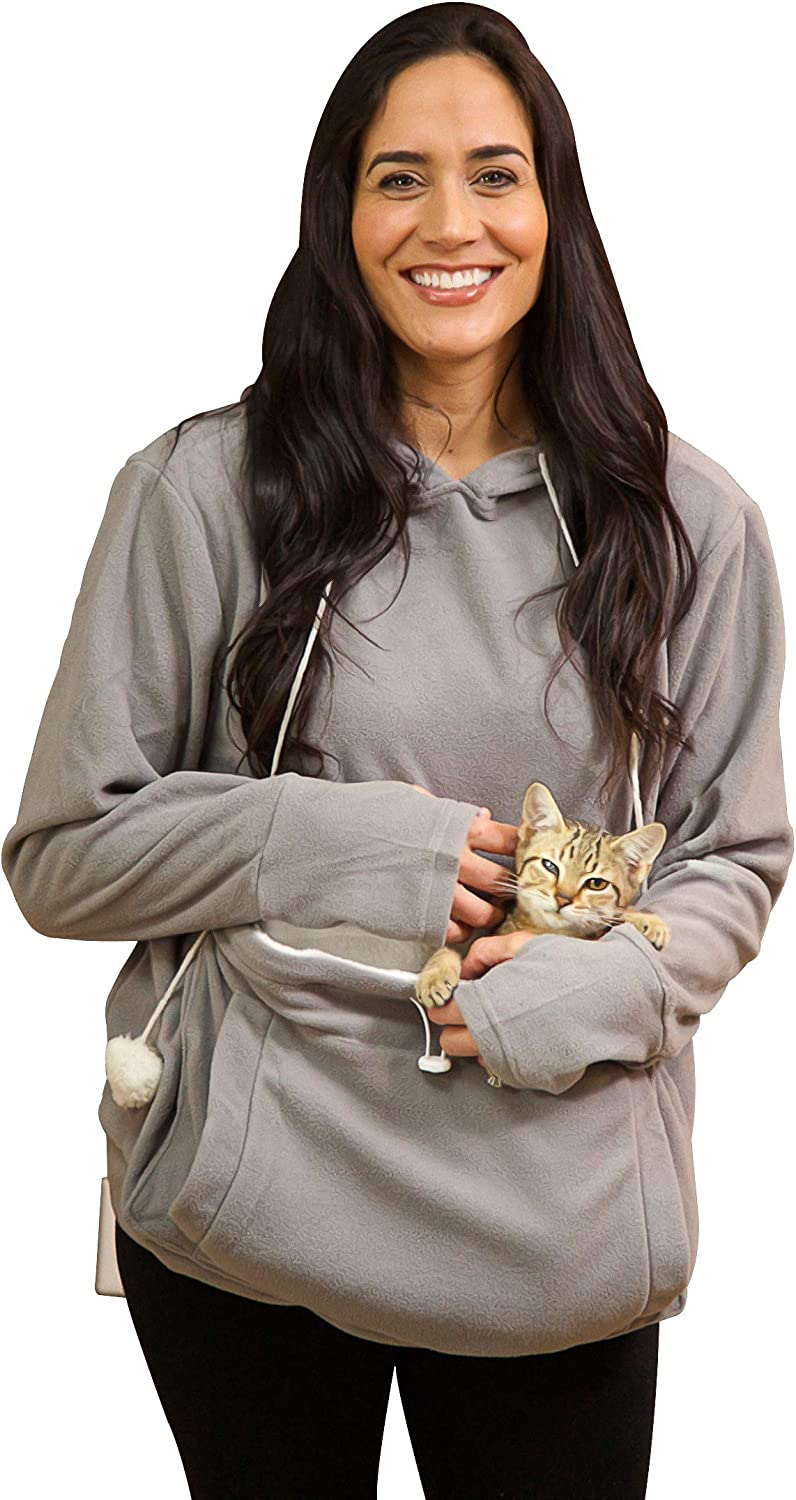 Amazon Com Kittyroo Cat Hoodie The Original As Seen On Tv Kitty Carrying Sweatshirt With Super Soft Kangaroo Pet Pouch Clothing