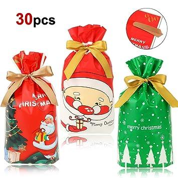 HOWAF Navidad Regalo Bolsas con Cordón para Caramelos Dulces Bueno, 30pcs Árbol de Navidad Papa Noel Bolsas Plastico para Niños Adultos Presenta ...