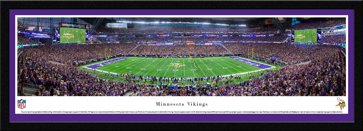 MN Vikings - 1st Game at US Bank Stadium - Blakeway Panoramas NFL Posters with Select Frame by Blakeway Worldwide Panoramas, Inc.