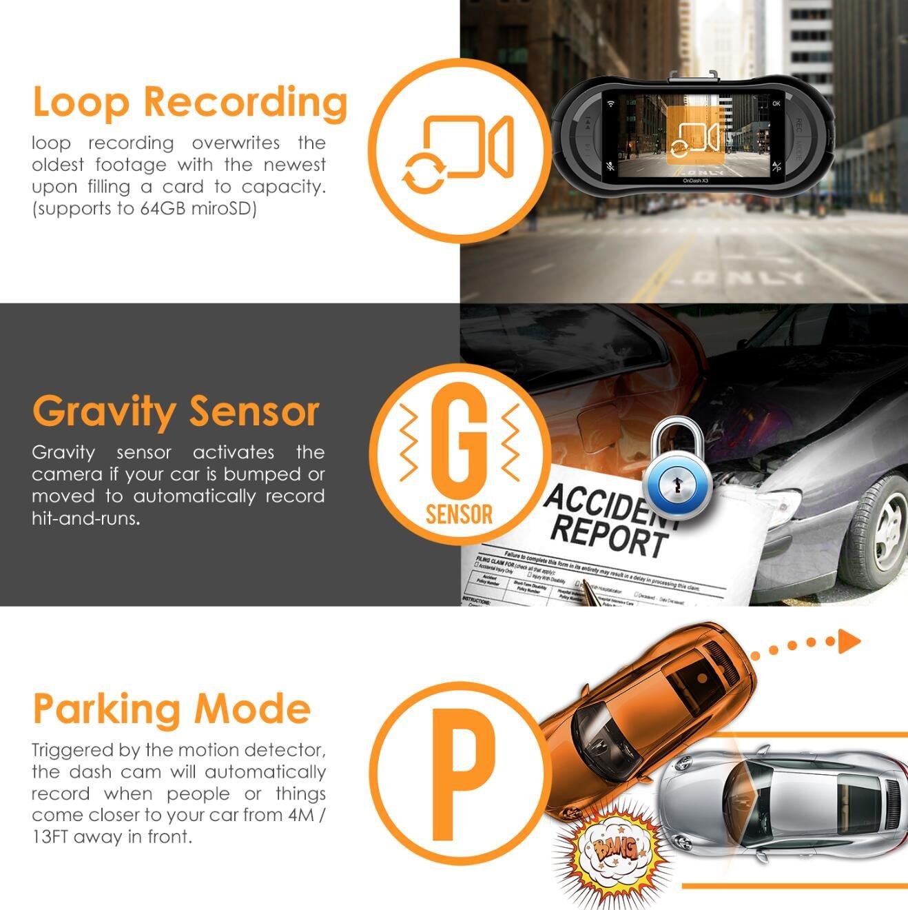 Vantrue X3 WIFI Dash Cam, Super HD 2.5K Car Dashboard Camera 1440P Car Camera with Ambarella A12 Chipset, 170°Wide Angle, Super HDR Night Vision, Loop Recording, Parking Mode, Motion Detection by VANTRUE (Image #6)