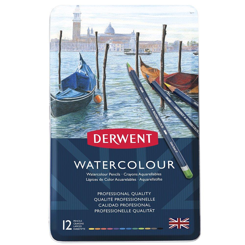 Derwent Watercolor Pencils, 3.4mm Core, Metal Tin, 12 Count (32881) Hilroy CA reikos_0019522742AM_0010189