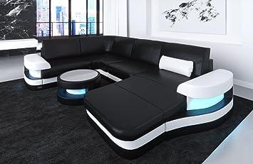 Sofa Dreams Leder Wohnlandschaft Modena U Form Schwarz Weiss Amazon